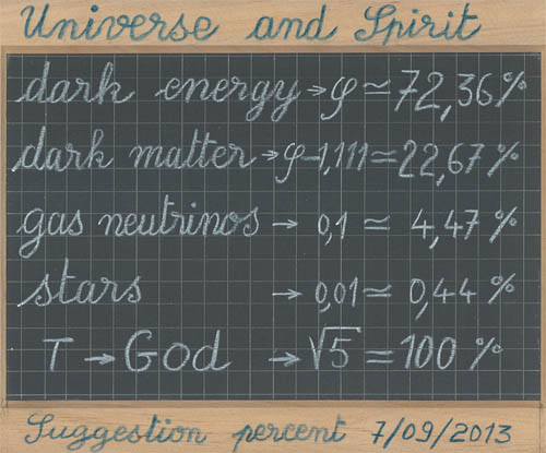 universe and spirit, percent , proportion, dark energy = phi, dark matter = phi-1.111, gas neutrinos = 0.1, stars = 0.01, God = sqrt(5)